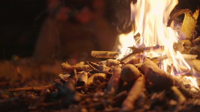 ビールを飲む男との焚き火 - 外乗点の映像素材/bロール