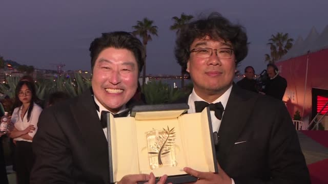 bong joon ho antonio banderas the dardenne brothers reactions from the prize winners at the 72nd cannes film festival which saw a black comedy about... - 72nd international cannes film festival stock videos and b-roll footage