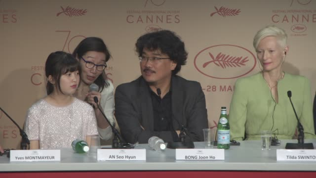 interview bong joon ho on what it was like working with netflix why he filmed it in chile at 'okja' press conference at palais des festivals on may... - netflix stock videos & royalty-free footage