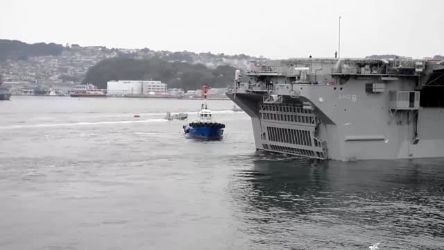 USS Bonhomme Richard departing Commander Fleet Activities sasebo Japan