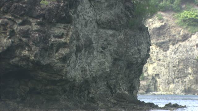 a boninite cliff juts upward on the coast of chichi jima island. - subtropical climate stock videos and b-roll footage