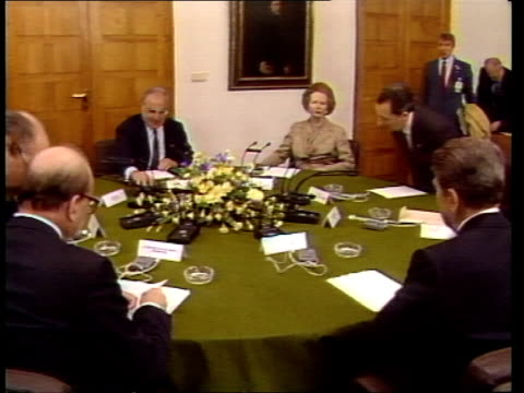 meetings continue despite german bomb attacks west germany bonn meeting pan lr leaders including german chancellor helmut kohl british prime minister... - chancellor of germany stock videos & royalty-free footage