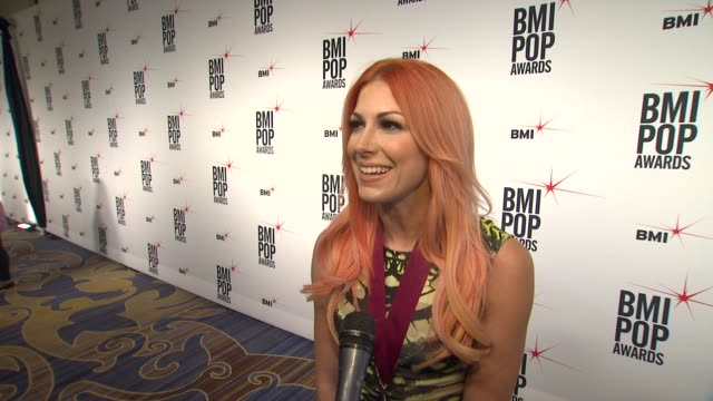 bonnie mckee on she feels to be receiving this honor from bmi, the first record that inspired her to start writing, the song she is most proud of... - songwriter stock videos & royalty-free footage