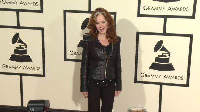 bonnie raitt at the 58th annual grammy awards® arrivals at staples center on february 15 2016 in los angeles california - grammy awards stock videos and b-roll footage