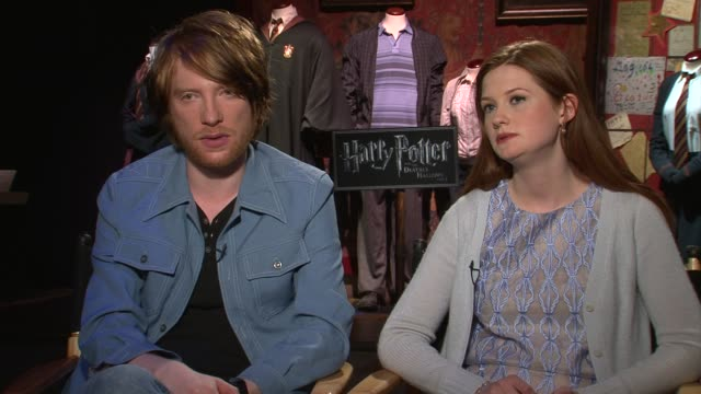 bonnie wright and domhnall gleeson on being excited to see the final film on how fun it is to get back together and bring the excitement back says... - cast video stock e b–roll