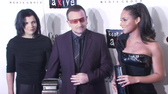 bono alicia keys and guest at the conde nast media group presents the 4th annual 'black ball' concert for 'keep a child alive' arrivals at the... - alicia keys stock videos and b-roll footage