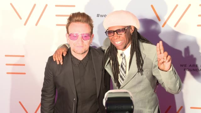 bono and nile rodgers at we are family foundation 2016 celebration gala at hammerstein ballroom on april 29, 2016 in new york city. - gala stock videos & royalty-free footage
