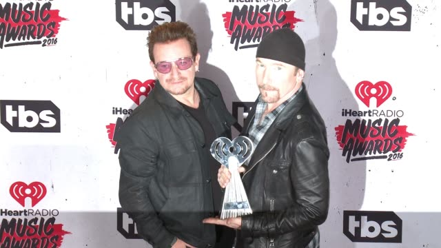 Bono and The Edge at 2016 iHeartRadio Music Awards at The Forum on April 03 2016 in Inglewood California