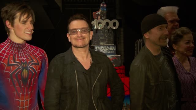 chyron bono and the edge celebrate the 1000th performance of spiderman turn off the dark on broadway at foxwoods theater on may 29 2013 in new york... - david 'the edge' howell evans stock videos and b-roll footage