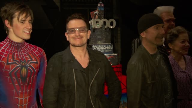 clean bono and the edge celebrate the 1000th performance of spiderman turn off the dark on broadway at foxwoods theater on may 29 2013 in new york... - david 'the edge' howell evans stock videos and b-roll footage