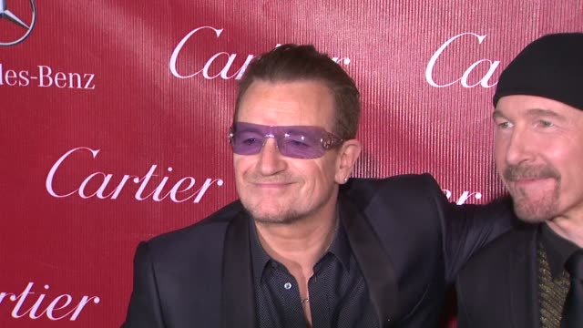 Bono and The Edge of U2 at the 25th Annual Palm Springs International Film Festival Awards Gala Presented By Cartier in Palm Springs CA on 1/04/14