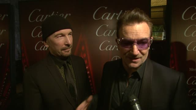 interview bono and the edge on what impact mandela had on them and in what way he inspired the song at the 25th annual palm springs international... - david 'the edge' howell evans stock videos and b-roll footage
