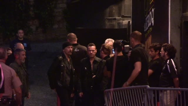 Bono and The Edge with Larry Mullen and Adam Clayton arrive at Secret U2 KROQ Concert at the Roxy on May 28 2015 in Los Angeles California