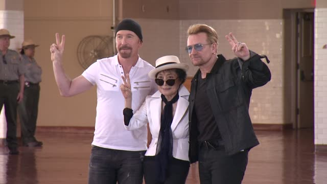 clean bono and yoko ono honor john lennon at event on ellis island at ellis island on july 29 2015 in new york city - david 'the edge' howell evans stock videos and b-roll footage