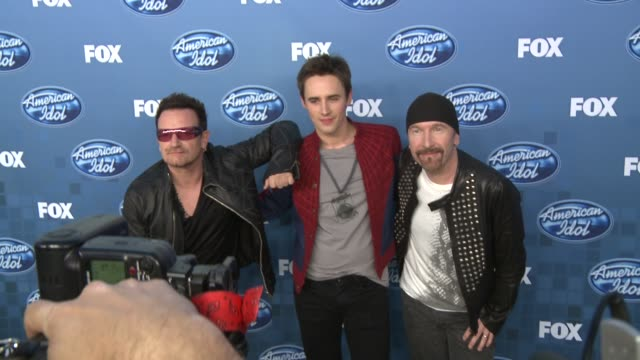 bono reeve carney and the edge at the fox's 'american idol 2011' finale results show at los angeles ca - david 'the edge' howell evans stock videos and b-roll footage