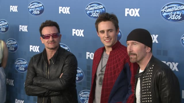 Bono Reeve Carney and The Edge at the Fox's 'American Idol 2011' Finale Results Show at Los Angeles CA