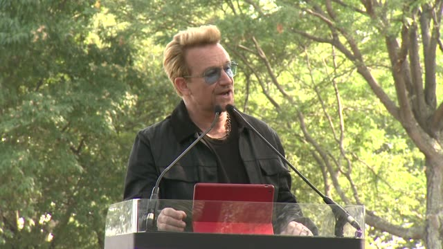 SPEECH Bono says when he thinks of New Yorkers he thins of Ellis Island on his claim that John Lennon was an Irish Immigrant on his claim of the...