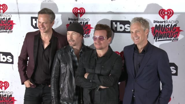 Bono The Edge John Sykes and Tom Poleman at 2016 iHeartRadio Music Awards at The Forum on April 03 2016 in Inglewood California
