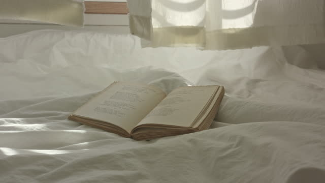 vídeos y material grabado en eventos de stock de book lying on a bed - curtains fluttering in the wind - libro abierto