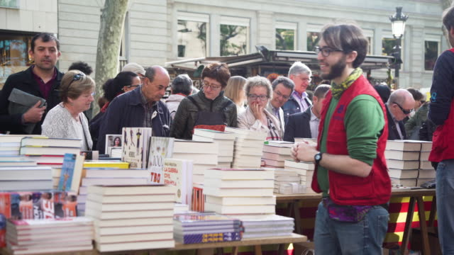 Book street market at Barcelona on Sant Jordi world book day