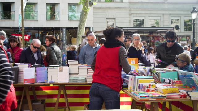 Book street market at Barcelona on Sant Jordi world book day
