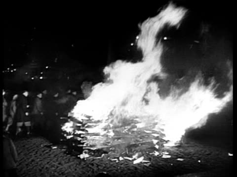 bookburning scenes in front of the university in berlin / nazis throwing books into bonfire at night, hitler youth marching in background. the... - 1933年点の映像素材/bロール