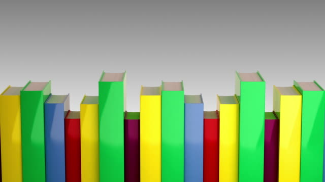 books in a row. loopable cg. - hardcover book stock videos and b-roll footage