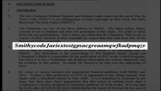 judge in da vinci code copyright case hides code in his ruling; graphicised sequence pages of judgement text turning / graphic extra code letters in... - the da vinci code stock videos & royalty-free footage