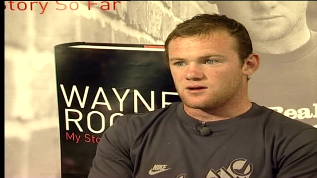 wayne rooney's autobiography; moyes to take legal action; 30.8.06 wayne rooney interview sot - press made me out to be bit of a scally / i'm not, i'm... - autobiography stock videos & royalty-free footage
