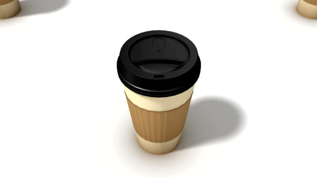 boom down from a single coffee cup revealing endless cups - disposable cup stock videos and b-roll footage