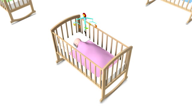 Boom down from single Baby in Crib revealing endless Cribs
