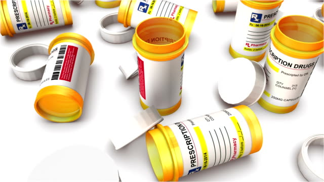 Boom down from single Empty Pill Bottle revealing endless Bottles.