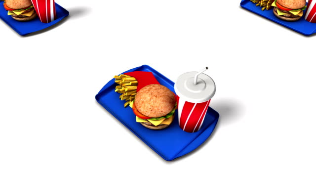 boom down from single fast food revealing endless foods - 盆点の映像素材/bロール