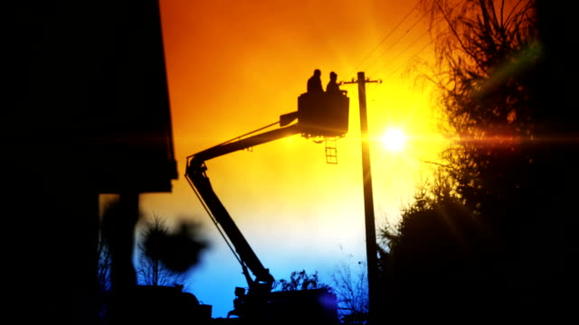 boom truck and basket - power line stock videos & royalty-free footage