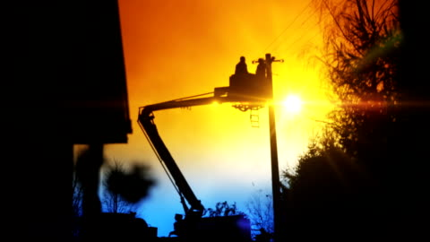 boom truck and basket - crane construction machinery stock videos & royalty-free footage