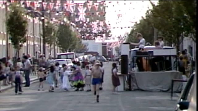 boost in sales for royal wedding china 1981 street party being held to mark the wedding of the prince and princess of wales - street party stock videos and b-roll footage