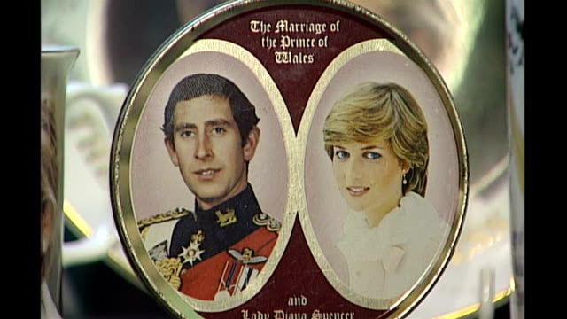 boost in sales for royal wedding china date commemorative china for wedding of prince charles and lady diana spencer and wedding of prince charles... - souvenir stock videos and b-roll footage