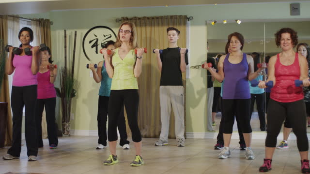 Bootcamp type group workout in a exercise studio