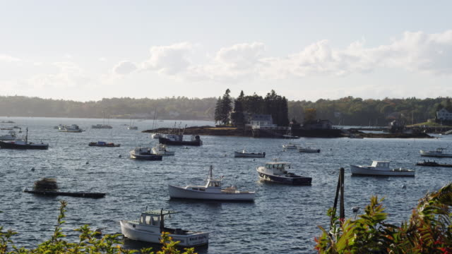vidéos et rushes de booth bay in maine with lobster boats and shore. - maine