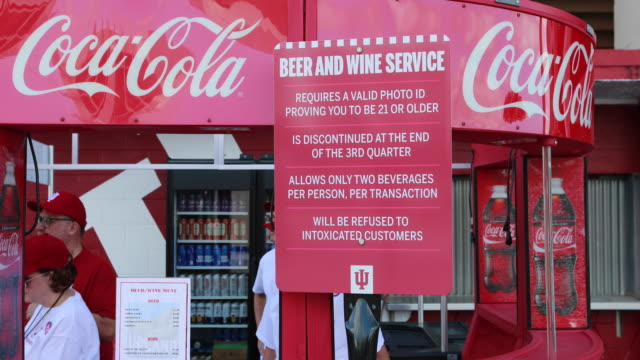 Booth selling beer and wine Alcohol products including beer and wine are sold for the first time at Indiana University's Memorial Stadium before an...