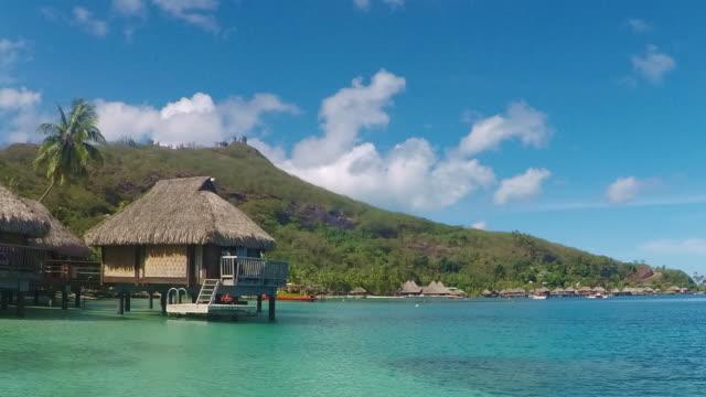 bora bora french polynesia lagoon time lapse stilt beach huts - south pacific ocean stock videos & royalty-free footage
