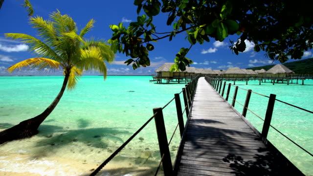bora bora island boardwalk overwater bungalows aquamarine lagoon - polynesian ethnicity stock videos & royalty-free footage