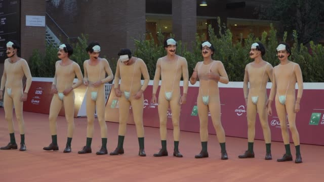 """borat impersonators attend the red carpet of the movie """"borat"""" during the 15th rome film festival on october 23, 2020 in rome, italy. - borat sagdiyev stock videos & royalty-free footage"""