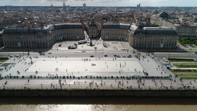 Bordeaux, Aerial view of Quai de lune and place de la bourse
