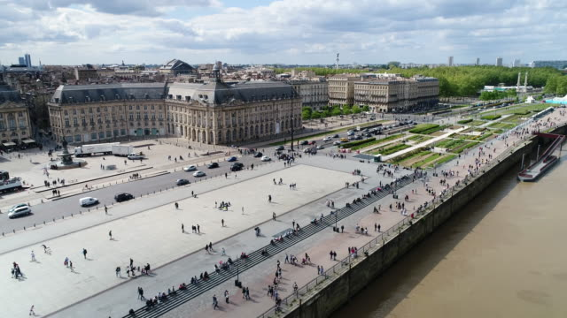 bordeaux, aerial view of quai de lune and place de la bourse - gironde stock videos and b-roll footage