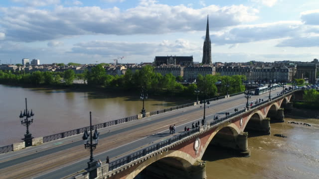 Bordeaux, Aerial view of the stone bridge over the Garonne river