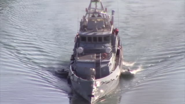 border force cutter carrying stranded migrants to dover - crossing stock videos & royalty-free footage