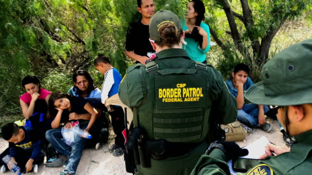 border patrol agents take central american asylum seekers into custody on june 12, 2018 near mcallen, texas. the families were then sent to a u.s.... - geographical border stock videos & royalty-free footage