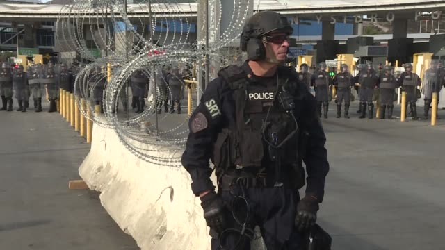 border police and other agents hold a drill at the san ysidro port of entry as thousands of central american migrants continue to arrive daily to the... - mexican american stock videos & royalty-free footage
