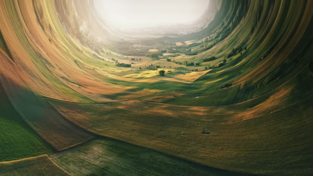 borderless worlds. bending rural landscape with fields - distorto video stock e b–roll